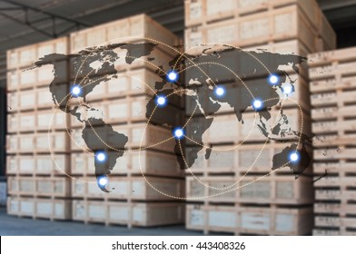 World international map connection connect network with blurred distribution logistic cargo warehouse background, Transportation and business concept, element of this image furnished by NASA