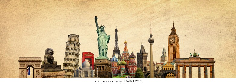 World landmarks and famous monuments collage isolated on panoramic vintage textured background