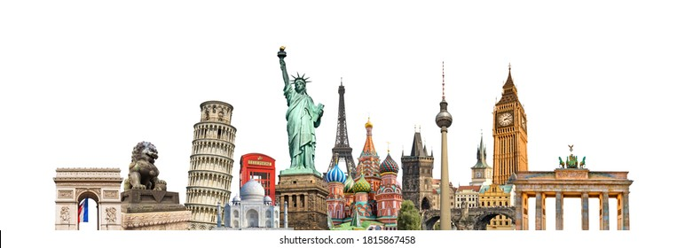 World landmarks and famous monuments collage isolated on panoramic white background - Shutterstock ID 1815867458