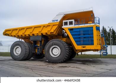 World Largest Huge Truck BelAZ. Yellow coloring huge mining haul truck. Zodzina, Belarus - March 9, 2016: Haul truck BelAZ 75710 by Belarusian manufacturer BelAZ.