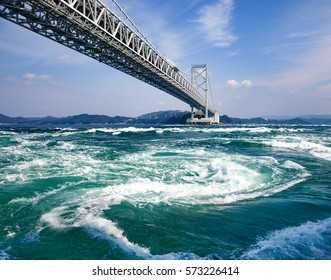 The world largest whirling waves in Naruto Channel, Japan