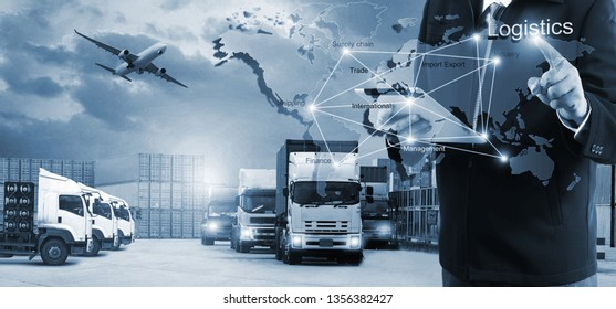 The world logistics,  there are world map with logistic network distribution on background and Logistics Industrial Container Cargo freight ship for Concept of fast or instant shipping