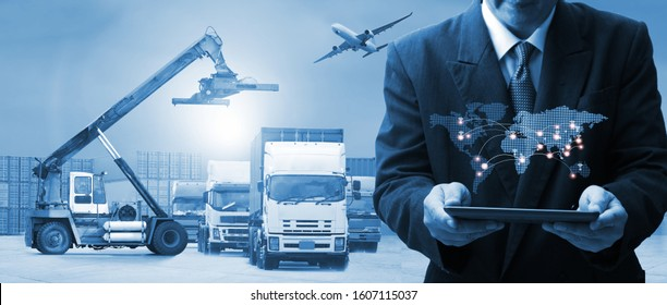 The world logistics , there are world map with logistic network distribution on background and Logistics Industrial Container Cargo freight ship for Concept of fast or instant shipping - Shutterstock ID 1607115037
