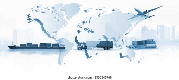 The world logistics, Transportation, import-export and logistics concept, there are world map background and container truck, ship in port and airplane
