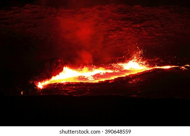World longest existing burning lava lake dating from 1906 in the Erta Ale-Smoking Mountain basaltic shield volcano at 613 ms.high-eliptic crater of 0.7 x 1.6 km. Danakil desert-Afar region-Ethiopia.