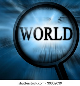 world with magnifier on a blue background
