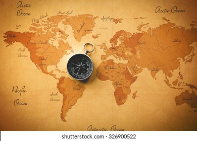 World man with compass close up