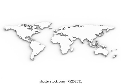 World Map. A World Map in 3D