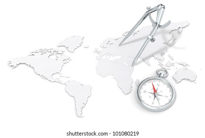 World Map in 3D. Paper Texture.  Steel Divider and Compass.