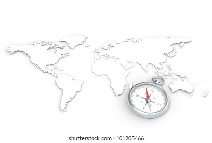 World Map in 3D.  Steel Compass.