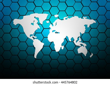 World map Abstract Hexagons background