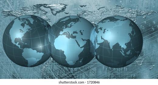 World Map across three globes