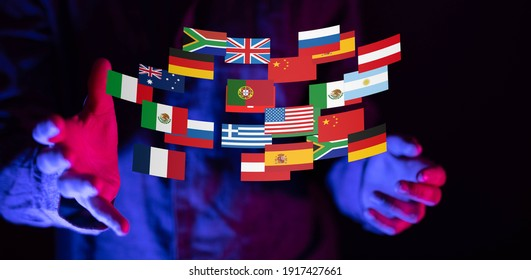 World map with all states and their flags,3d render.
