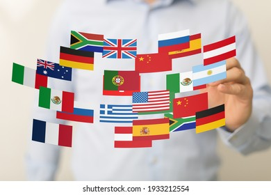 World map with all states and their flags
