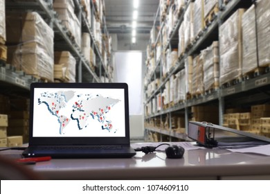 world map with AR application for check order pick time in smart factory warehouse,  connection for Logistic Import Export ,interior of warehouse. Rows of shelves with boxes