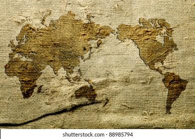 world Map Background of Natural burlap hessian sacking