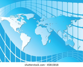 World map background over blue screens, vector version is also available