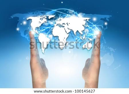 World Map On Hands.World Map Between Hands Stock Photo Edit Now 100145627 Shutterstock
