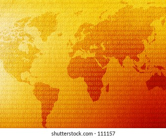 World map with binary code behind it.