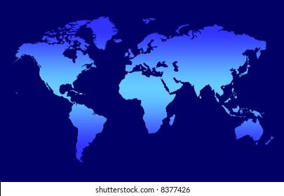 World Map - Blue Gradient Continents On Dark Background