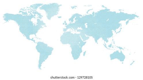 world map in blue halftone pattern