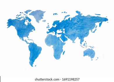 World map blue on white background. Watercolor illustration