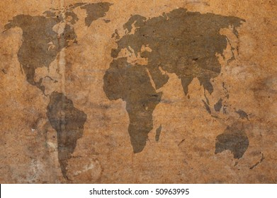 world map brown grunge art background style