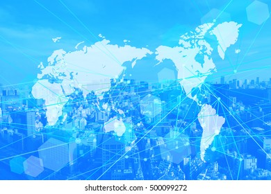 world map business background-blue