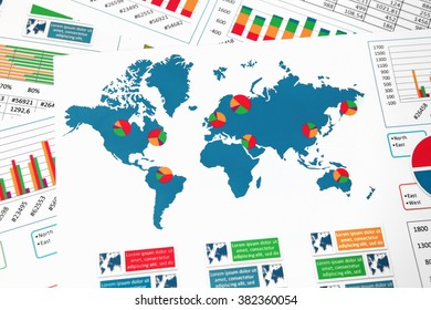World map with charts, graphs and diagrams report
