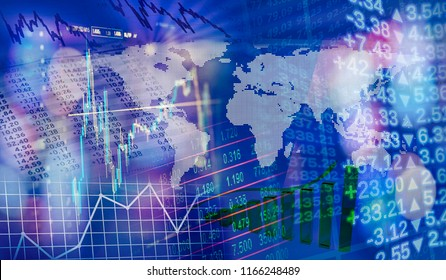 World map with charts and graphs as symbols of global finance