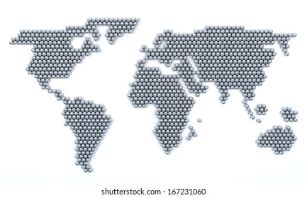 world map with chrome ball