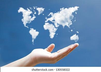 world map cloud shape floating on hand