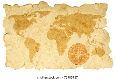 world map with compass on old paper