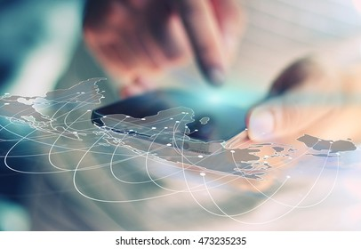 World map connected, social network, globalization business, social media, networking concept.