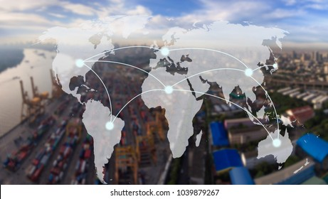 world map with connection line on  Industrial Container Cargo for Logistic Import Export at yard,world transportation concept