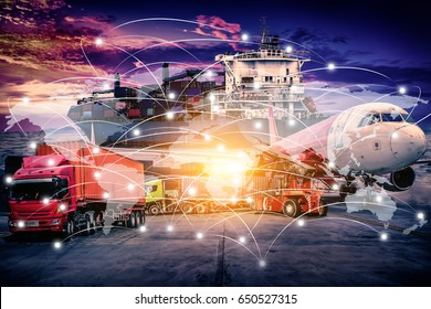 World Map connection technology interface global partner connection of Container Cargo freight ship for Logistic Import Export background,Business Logistics concept