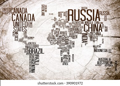 World map countries name text typography vectores en stock 703608394 world map countries name on lumber gumiabroncs Image collections