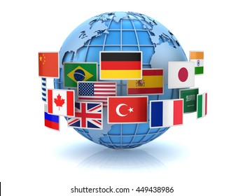 World map and country flags , This is a 3d computer generated image. Isolated on white.
