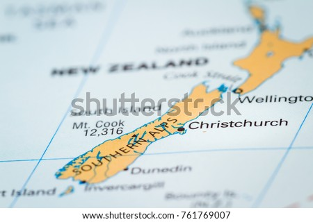 Christchurch World Map.World Map Country New Zealand Focus Stock Photo Edit Now 761769007