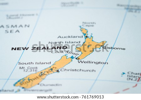 World Map Country New Zealand Focus Stock Photo (Edit Now) 761769013 ...