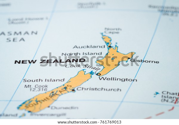 World Map Country New Zealand Focus Stock Photo (Edit Now) 761769013