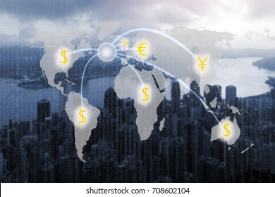 World map and digital money transfers concept