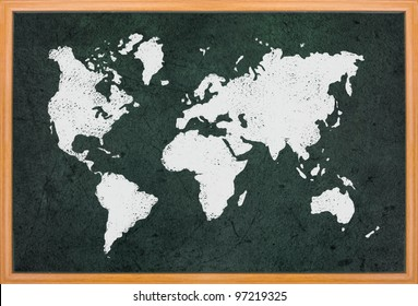World map draw on blackboard with wooden frame
