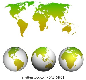 World map with earth globes isolated on white.