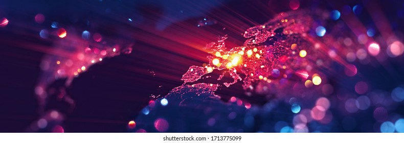 World Map Europe with Glitter and Glow Effect. Elements of this image furnished by NASA - Shutterstock ID 1713775099