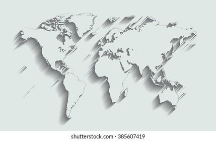 World map flat white