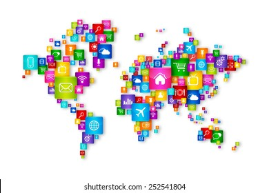 World Map Flying Desktop Icons collection. Cloud Computing concept