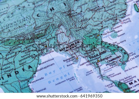 World Map Focus Myanmar Stock Photo Edit Now 641969350 Shutterstock