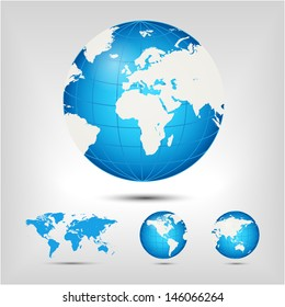 World map. Globe. Earth. Planet. Raster version. Vector version available in my portfolio.