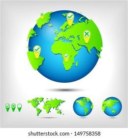World map. Globe. Earth. Planet. Raster version.